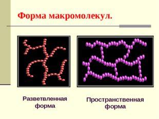Форма макромолекул. Разветвленная форма Пространственная форма