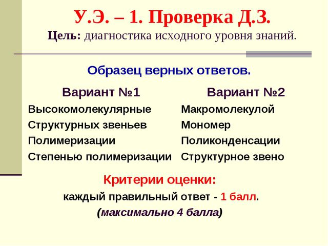 У.Э. – 1. Проверка Д.З. Цель: диагностика исходного уровня знаний. Вариант №1...