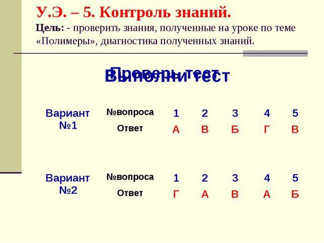 У.Э. – 5. Контроль знаний. Цель: - проверить знания, полученные на уроке по т...