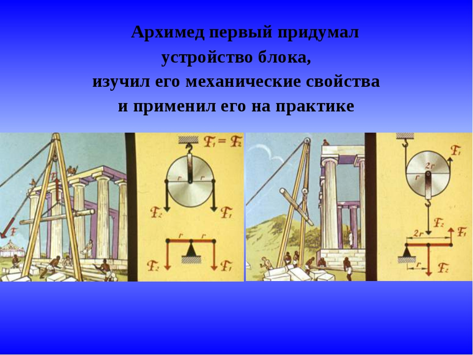 Архимед первый придумал устройство блока, изучил его механические свойства и...