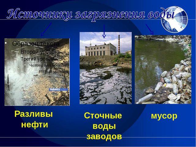 Разливы нефти мусор Сточные воды заводов