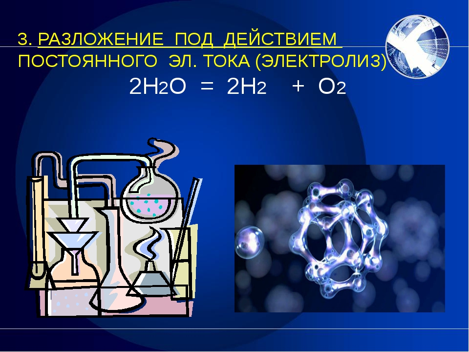 3. РАЗЛОЖЕНИЕ ПОД ДЕЙСТВИЕМ ПОСТОЯННОГО ЭЛ. ТОКА (ЭЛЕКТРОЛИЗ) 2H2O = 2H2  +...