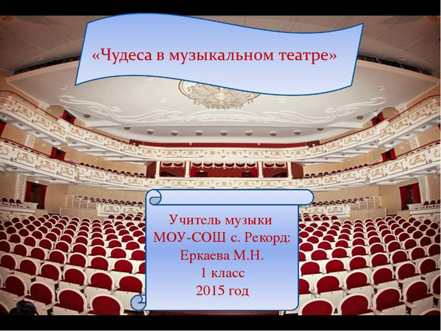 Учитель музыки МОУ-СОШ с. Рекорд: Еркаева М.Н. 1 класс 2015 год