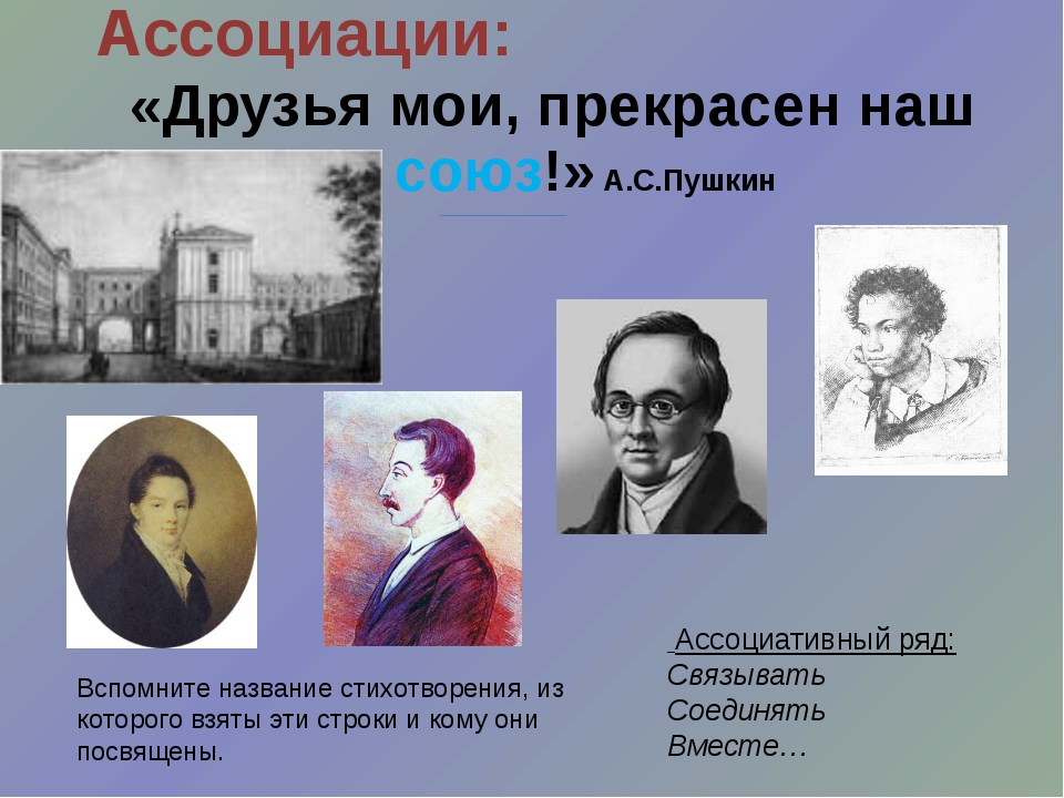 Ассоциации: «Друзья мои, прекрасен наш союз!» А.С.Пушкин Ассоциативный ряд: С...