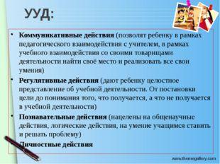УУД: Коммуникативные действия (позволят ребенку в рамках педагогического взаи