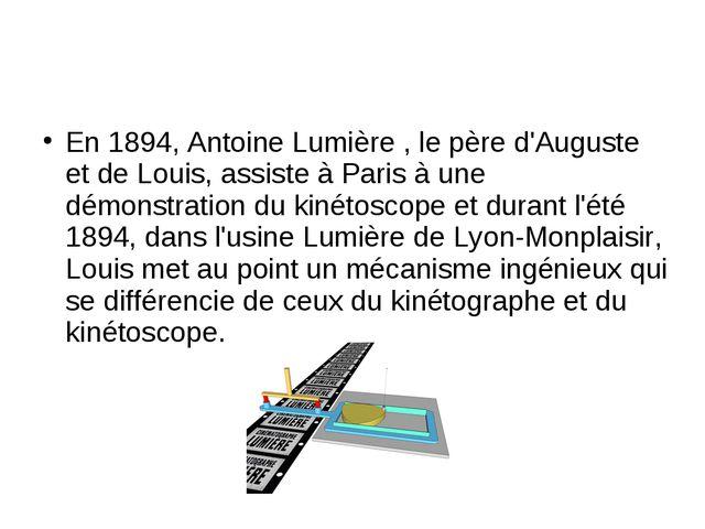 En 1894, Antoine Lumière , le père d'Auguste et de Louis, assiste à Paris à u...