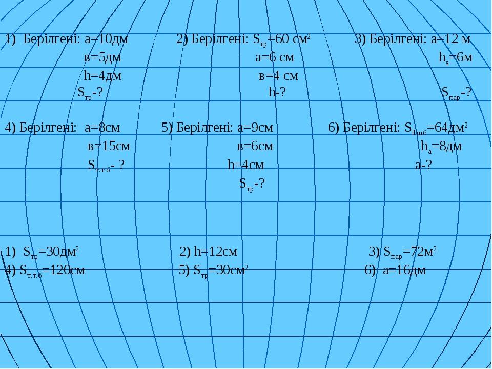 Берілгені: a=10дм 2) Берілгені: Sтр=60 см2 3) Берілгені: а=12 м в=5дм а=6 см...