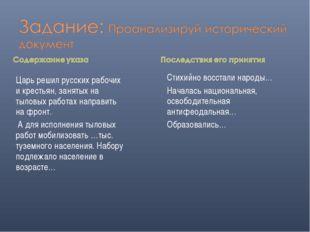 Царь решил русских рабочих и крестьян, занятых на тыловых работах направить н