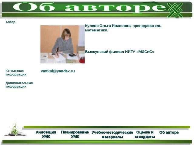 Кулева Ольга Ивановна, преподаватель математики. Выксунский филиал НИТУ «МИСи...