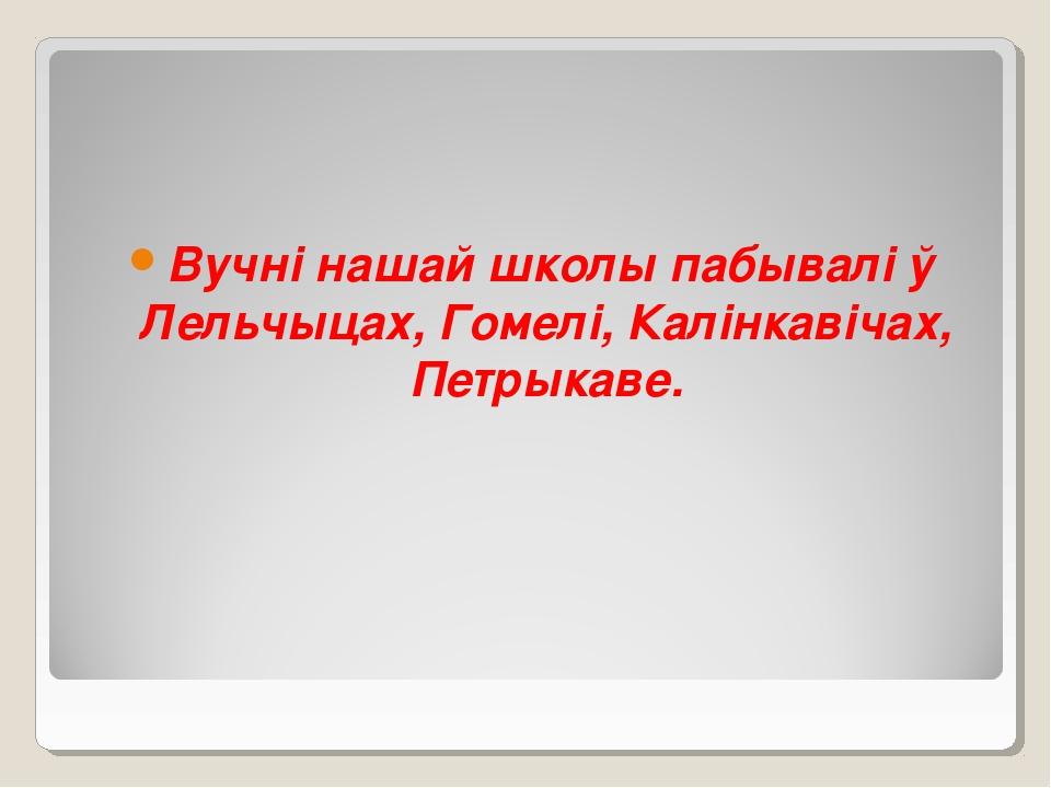 Вучні нашай школы пабывалі ў Лельчыцах, Гомелі, Калінкавічах, Петрыкаве.