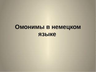 Омонимы в немецком языке