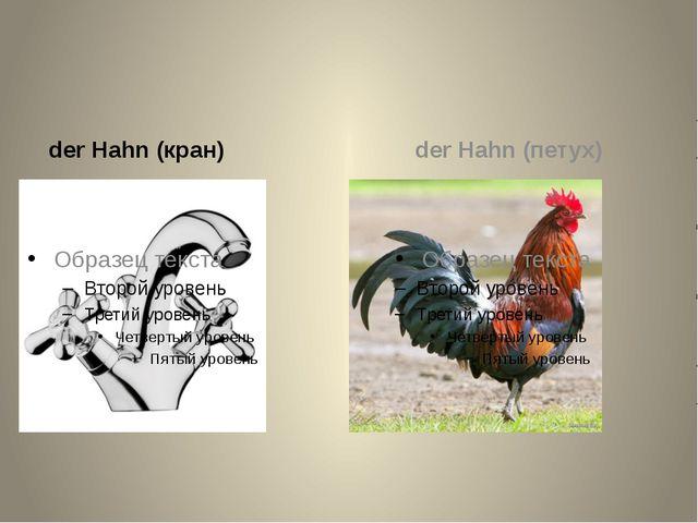 der Hahn (кран) der Hahn (петух)