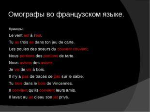 Омографы во французском языке. Примеры : Le vent est à l'est. Tu as trois as