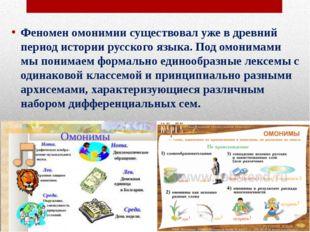 Феномен омонимии существовал уже в древний период истории русского языка. Под