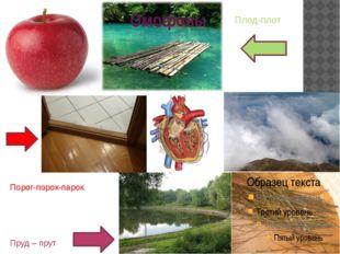 Омофоны Пруд – прут Порог-порок-парок Плод-плот