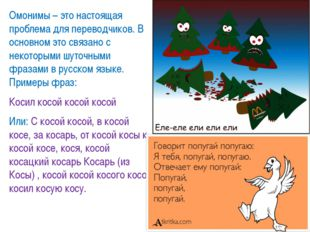 Омонимы – это настоящая проблема для переводчиков. В основном это связано с н