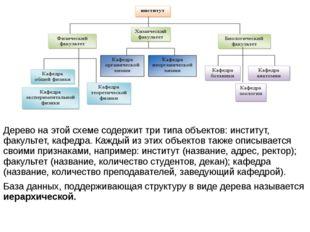 Дерево на этой схеме содержит три типа объектов: институт, факультет, кафедр
