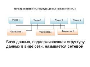 Третья разновидность структуры данных называется сетью. База данных, поддержи
