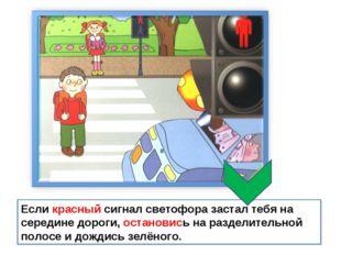 Если красный сигнал светофора застал тебя на середине дороги, остановись на р