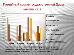Партийный состав государственной Думы начала ХХ в. Задание: на основе составо