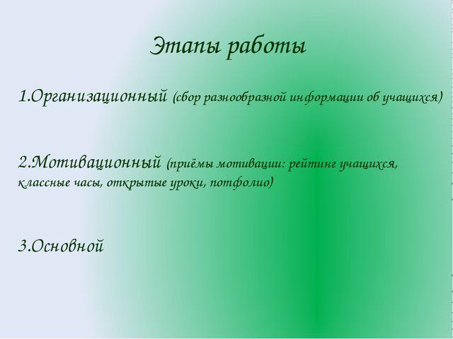 Этапы работы 1.Организационный (сбор разнообразной информации об учащихся) 2....
