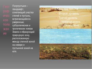 Географическое положение Полупустыня – ландшафт, сочетающий участки степей и