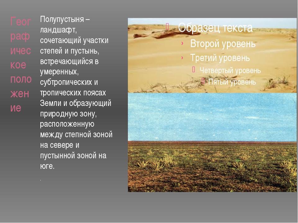 Географическое положение Полупустыня – ландшафт, сочетающий участки степей и...
