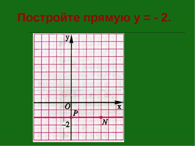 Постройте прямую у = - 2.