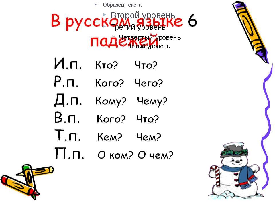 В русском языке шесть падежей. Каждый падеж имеет своё название и отвечает н...