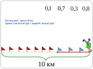 Екі ауылдың арасы 10 км. Арман 3 км жол жүрді. Қандай бөлігін жүрді? 10 км М