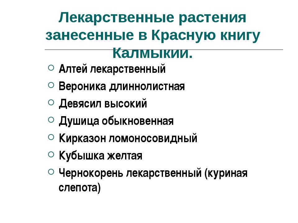 Лекарственные растения занесенные в Красную книгу Калмыкии. Алтей лекарствен...
