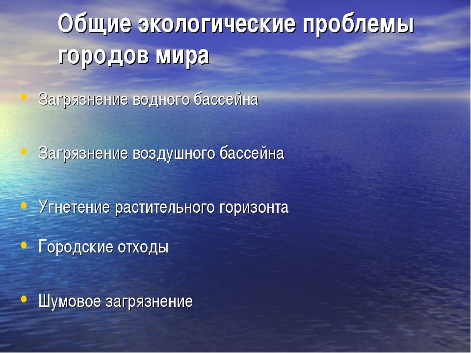 Загрязнение водного бассейна Загрязнение воздушного бассейна Угнетение расти...
