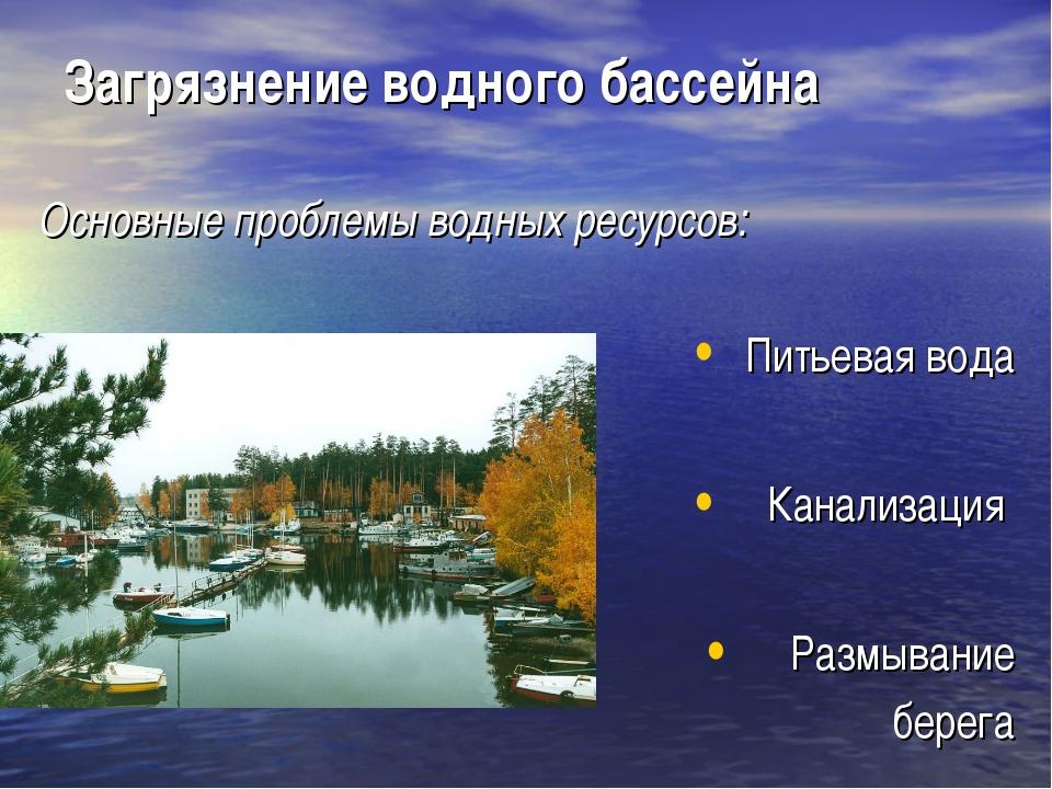 Загрязнение водного бассейна Основные проблемы водных ресурсов: Питьевая вода...