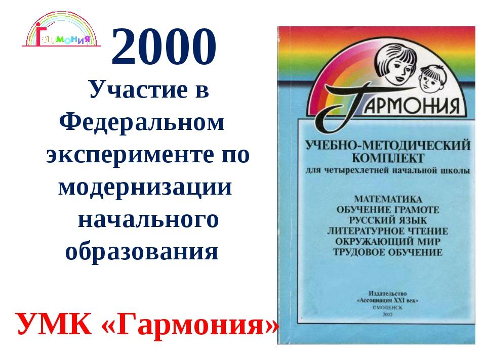 * 2000 Участие в Федеральном эксперименте по модернизации начального образова...