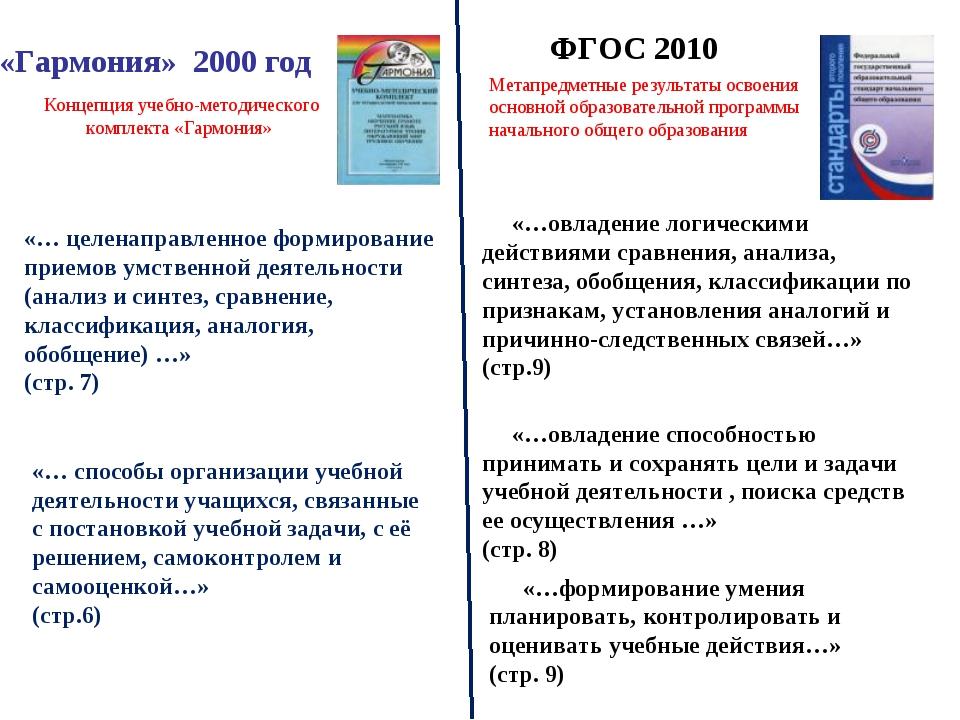 «Гармония» 2000 год ФГОС 2010 Метапредметные результаты освоения основной обр...