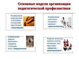 Основные модели организации педагогической профилактики Формирование представ