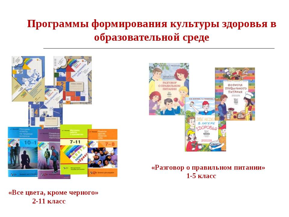 Программы формирования культуры здоровья в образовательной среде «Все цвета,...
