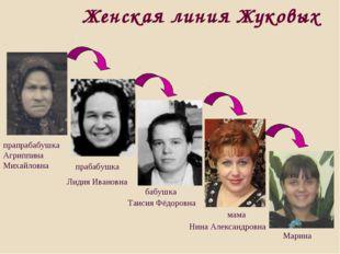 Женская линия Жуковых прабабушка Лидия Ивановна Марина бабушка Таисия Фёдоров