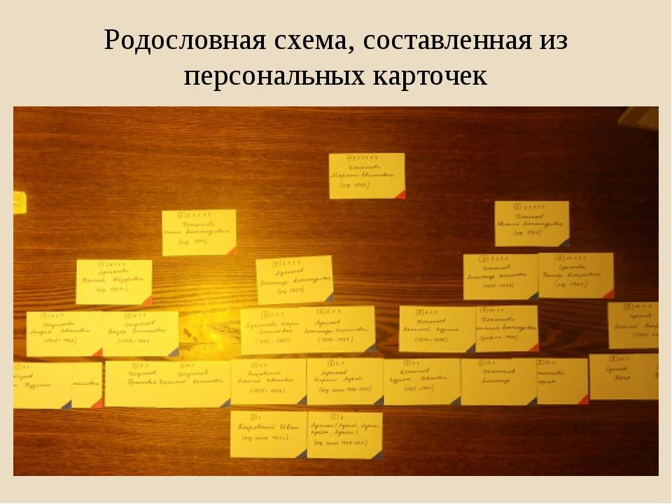 Родословная схема, составленная из персональных карточек