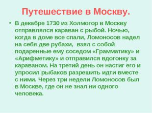 Путешествие в Москву. В декабре 1730 из Холмогор в Москву отправлялся караван