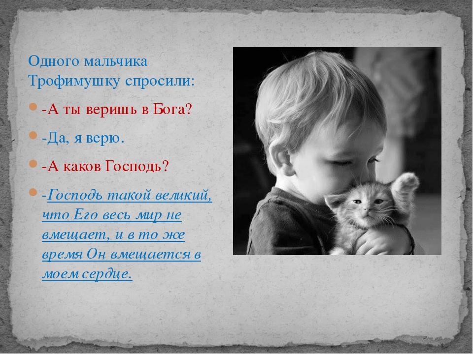 Одного мальчика Трофимушку спросили: -А ты веришь в Бога? -Да, я верю. -А как...