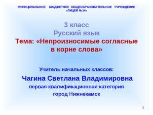 МУНИЦИПАЛЬНОЕ БЮДЖЕТНОЕ ОБЩЕОБРАЗОВАТЕЛЬНОЕ УЧРЕЖДЕНИЕ «ЛИЦЕЙ №14» 3 класс Р