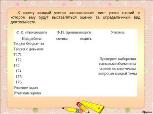 К зачету каждый ученик заготавливает лист учета знаний, в котором ему будут
