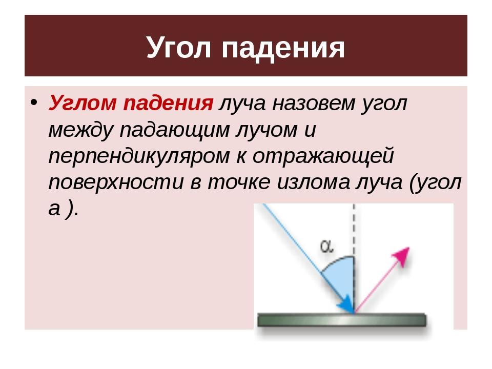 Угол падения Углом падения луча назовем угол между падающим лучом и перпендик...