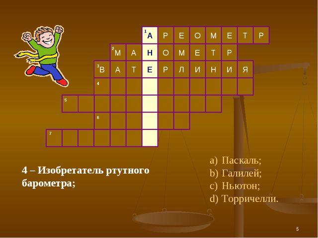 * 4 – Изобретатель ртутного барометра; Паскаль; Галилей; Ньютон; Торричелли.