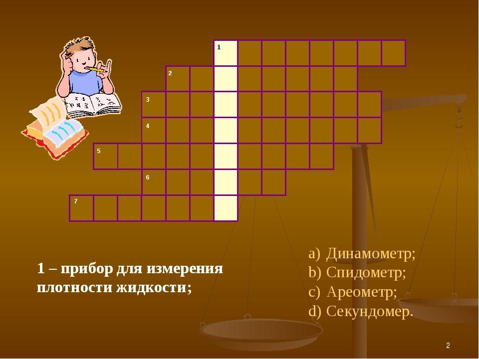 * Динамометр; Спидометр; Ареометр; Секундомер. 1 – прибор для измерения плотн...