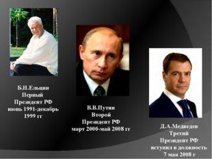Б.Н.Ельцин Первый Президент РФ июнь 1991-декабрь 1999 гг В.В.Путин Второй Пре