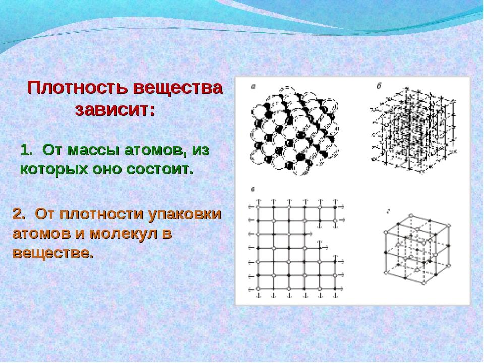 2. От плотности упаковки атомов и молекул в веществе. Плотность вещества зави...