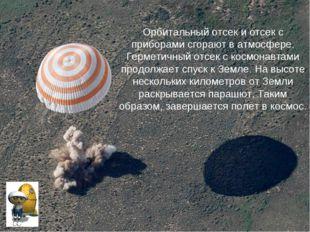 Орбитальный отсек и отсек с приборами сгорают в атмосфере. Герметичный отсек