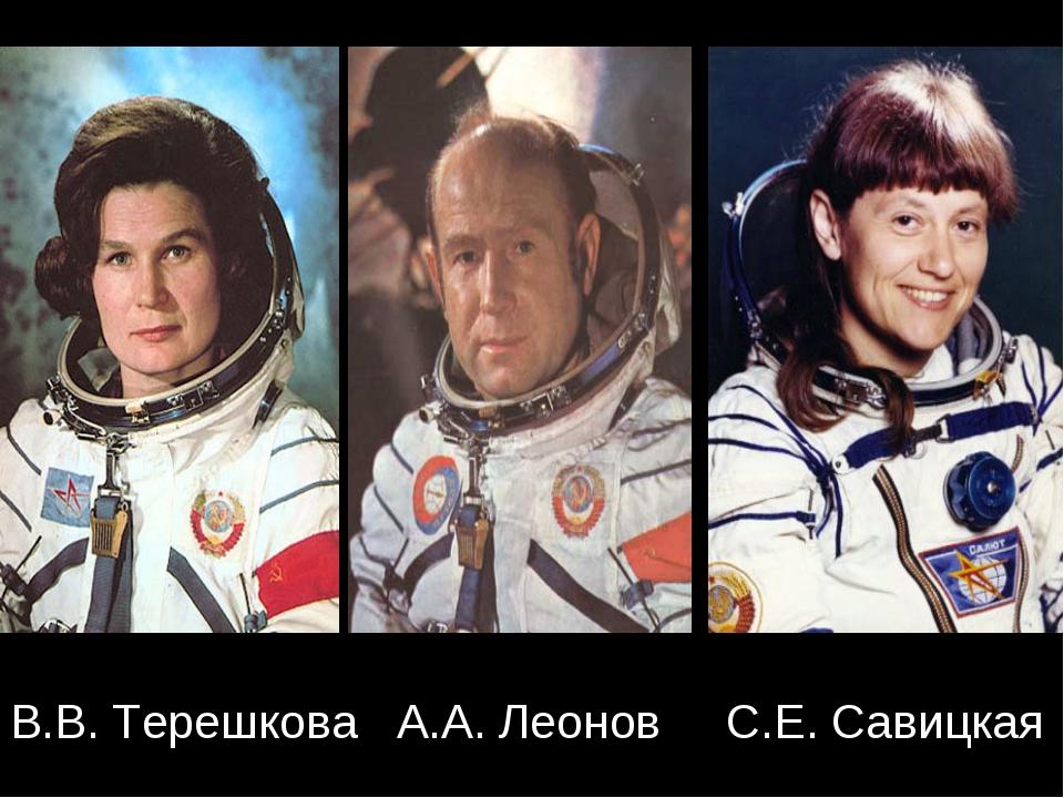 В.В. Терешкова А.А. Леонов С.Е. Савицкая